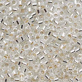 Miyuki Delica Beed Beads, Tamaño 15/0, 4 Gramos, Cristal Forrado de Plata DBS041