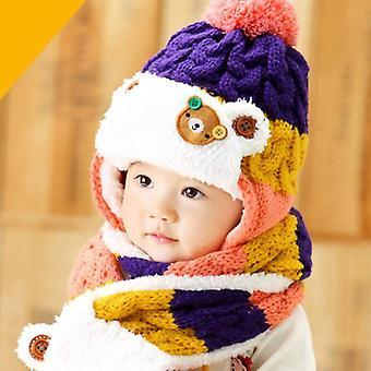 الفاصوليا الدب الشتاء الفراء الطفل ووشاح ومجموعات قبعة