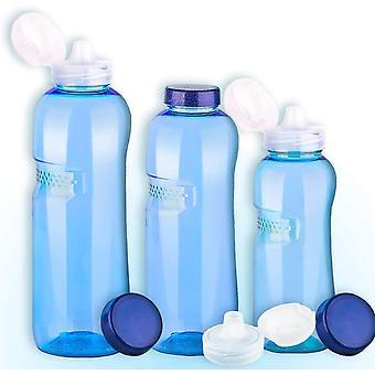 Wokex 3er Set Trinkflaschen 0,5-0,75-1L Wasserflaschen + 3 x Trinkdeckel