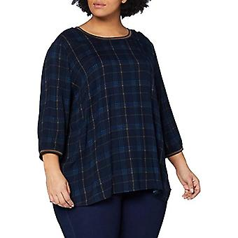 TOM TAILOR MY TRUE ME Fabric Mix T-Shirt, 25181-Navy Bold Printed Ch, 54 Women