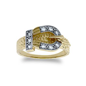 Jewelco London Kids Solid 9ct Yellow Gold White Round Brilliant Cubic Zirconia Belt Buckle Baby Ring