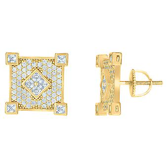 925 Sterling Silver Yellow tone Mens Princess cut Cubic zirconia Square Fashion Stud Earrings Jewelry Gifts for Men