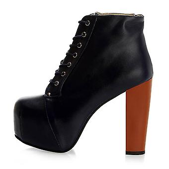 Navy Blue Leather Thick Heeled Boots Women Ra20-01