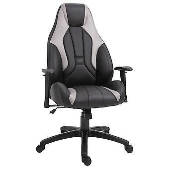 Vinsetto High Back Executive Office Chair Mesh & Fuax Leather Gaming Gamer Chair with Swivel Wheels, Adjustable Height and Armrest, Grey