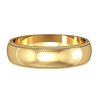 ジュエルコ ロンドン 18ct イエローゴールド - 5mm エッセンシャル D-shaped ミル グレイン エッジ バンド コミットメント / 結婚指輪