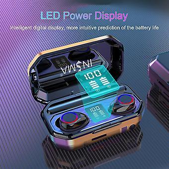 Insma m12 tws bluetooth 5.0 kuulokemikrofoni led kevyt älykäs kosketus kuuloke kuulokkeet taskulamppu power pankki digitaalinen näytön lataus laatikko