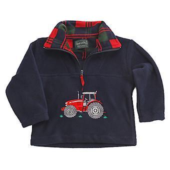 キッズレッド トラクター ネイビー フリース セーター