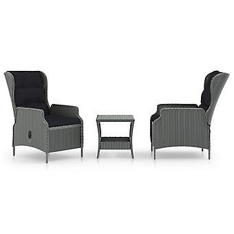 vidaXL 3-tlg. Garten-Lounge-Set mit Auflagen Poly Rattan Hellgrau