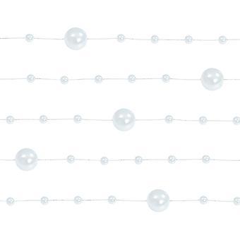SISTE FÅ - 5 Hvite 1.3m Perle perle perle kranser for håndverk og blomsterdekoratør