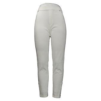 Susan Graver Women's Pants Knit Corduroy Straight Pull On White A297161