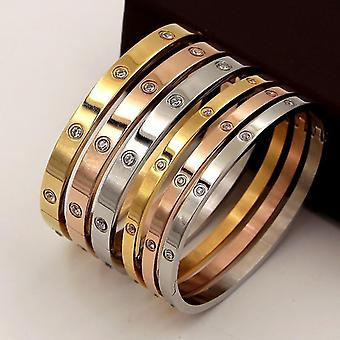 Woman Bracelets Stainless Steel, Bangles And Cubic Zirconia Jewelry(4mm Silver)