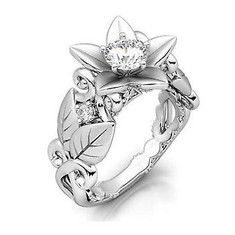 4Pcs Fashion Rose with Diamond Women Wedding Ring, Ring Size:8