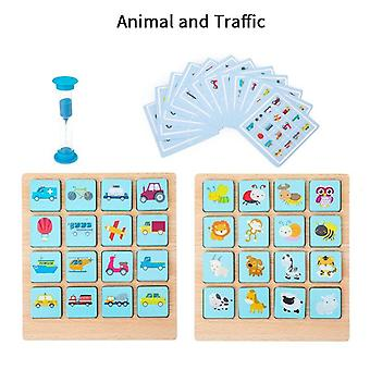 Montessori memory match chess game 3d puzzles wooden early educational family party casual interaction game toy kids