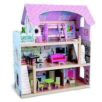 Moni Wooden Dollhouse Mila 4110, 16 stuks, meubelset, 3 verdiepingen diverse kamers