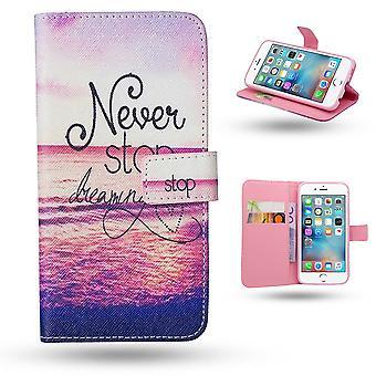 IPhone 6/6s-cases/tegnebog læder-aldrig stoppe drømmer...