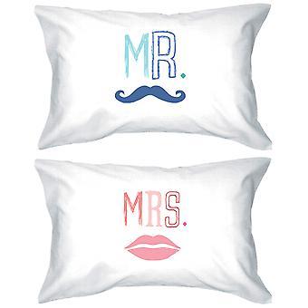 Mr og Mrs 300-tråders Standard størrelse 21 x 30 matchende par Pillowcases