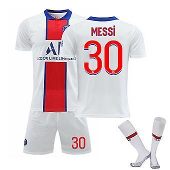 Messi #30 Jersey 2021-2022 New Season Paris Soccer T-Shirts Jersey Set för barnungdomar