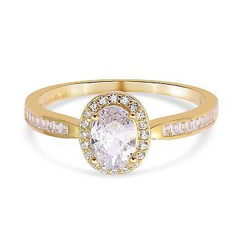 Elanza Weiß Zirkonia Halo Ring Vergoldet Silber Jubiläumsgeschenk 1.87ct
