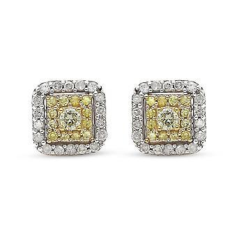 TJC sárga gyémánt stud fülbevaló ajándék neki 9K sárga arany SGL certified 0.5ct