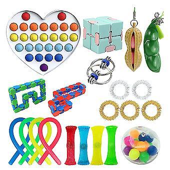 21pcs Push Pop Bubble Rainbow Fidget Toy Stress Relievers Set