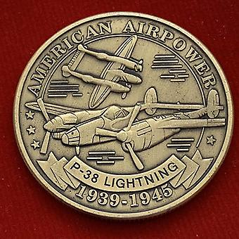 American P38 Lightning Fighter Pièce de cuivre plaquée or Air Force Interceptor Pièce commémorative Pièce commémorative