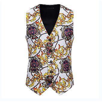 Mens White Crown gedrukt Single Breasted Vest Gothic Steampunk Victoriaanse Brocade Vest