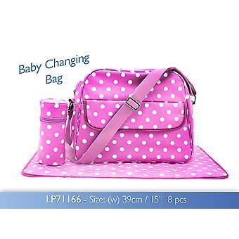 Rosa Dotty Baby Bag mit wechselnden Mat und Bottle Bag Wachstuch ändern