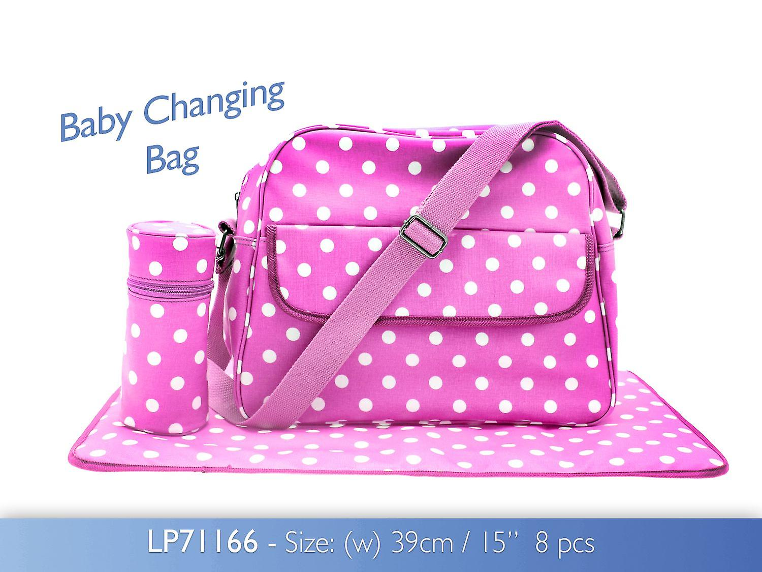 Pink Dotty Baby Changing Bag with Changing Mat and Bottle Bag Oilcloth