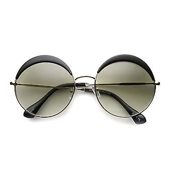 Womens Oversized Full Metal Frame Eyelid Half Brow Super Round Sunglasses