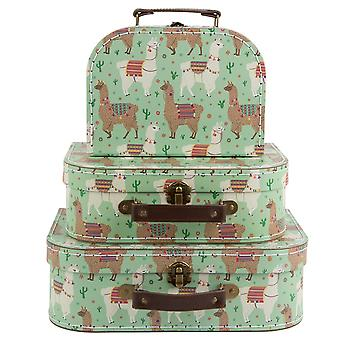 Sass & Belle Set Of 3 Lima Llama Suitcases