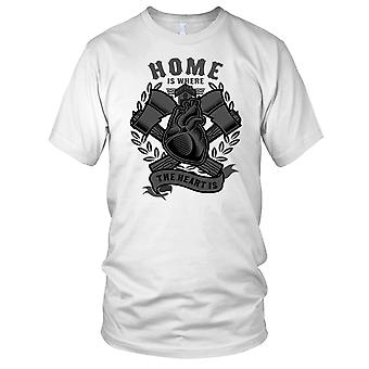 Hjem er der hjertet er - Biker motorsykkel motorsykkel Mens T Shirt