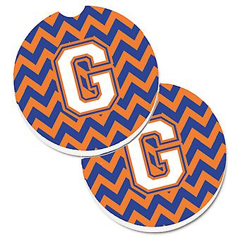 Letter G Chevron Blue and Orange #3 Set of 2 Cup Holder Car Coasters
