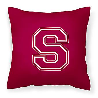 Monogram Initial S Maroon and White Decorative   Canvas Fabric Pillow CJ1032