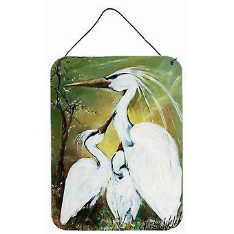 Bênção na alimentação tempo Egret família parede ou porta-impressões de suspensão