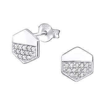 Шестигранные - 925 стерлингового серебра кубического циркония уха шпильки - W32069x