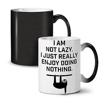 Sloth Lazy Joke Funny NEW Black Colour Changing Tea Coffee Ceramic Mug 11 oz | Wellcoda