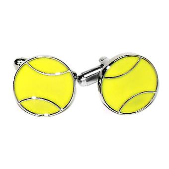 Silver-Tone Men's Cuff Links TENNIS BALL Shaped Cufflinks