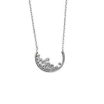 Rhodium kvinne 925/1000 sølv halskjede og hvit zirkonium oksider