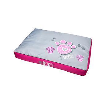 Rogz Flat Pod Non-Rip Washable Pet Bed Paw Design, Pink