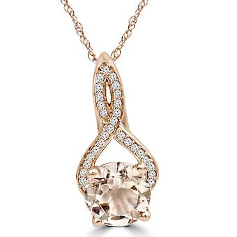 8MM Morganite 1/10 Ct diamante Vintage Infinity pendente 14k oro rosa (K-L, I2-I3)