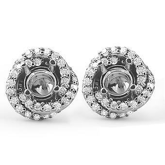 3/4 قيراط الماس هالة ترصيع يناسب تصاعد دوامة 4.5 5.5 مم الجولة 14 ك الأبيض غول