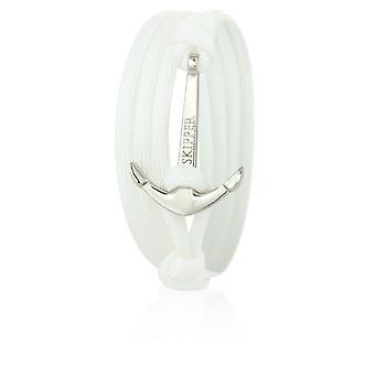 Patron d'ancrage bracelet bracelet en nylon blanc avec ancre argent 6630
