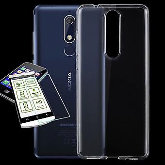 Silikoncase Transparent + 0,3 H9 Schutzglas für Nokia 5.1 2018 Tasche Hülle Cover
