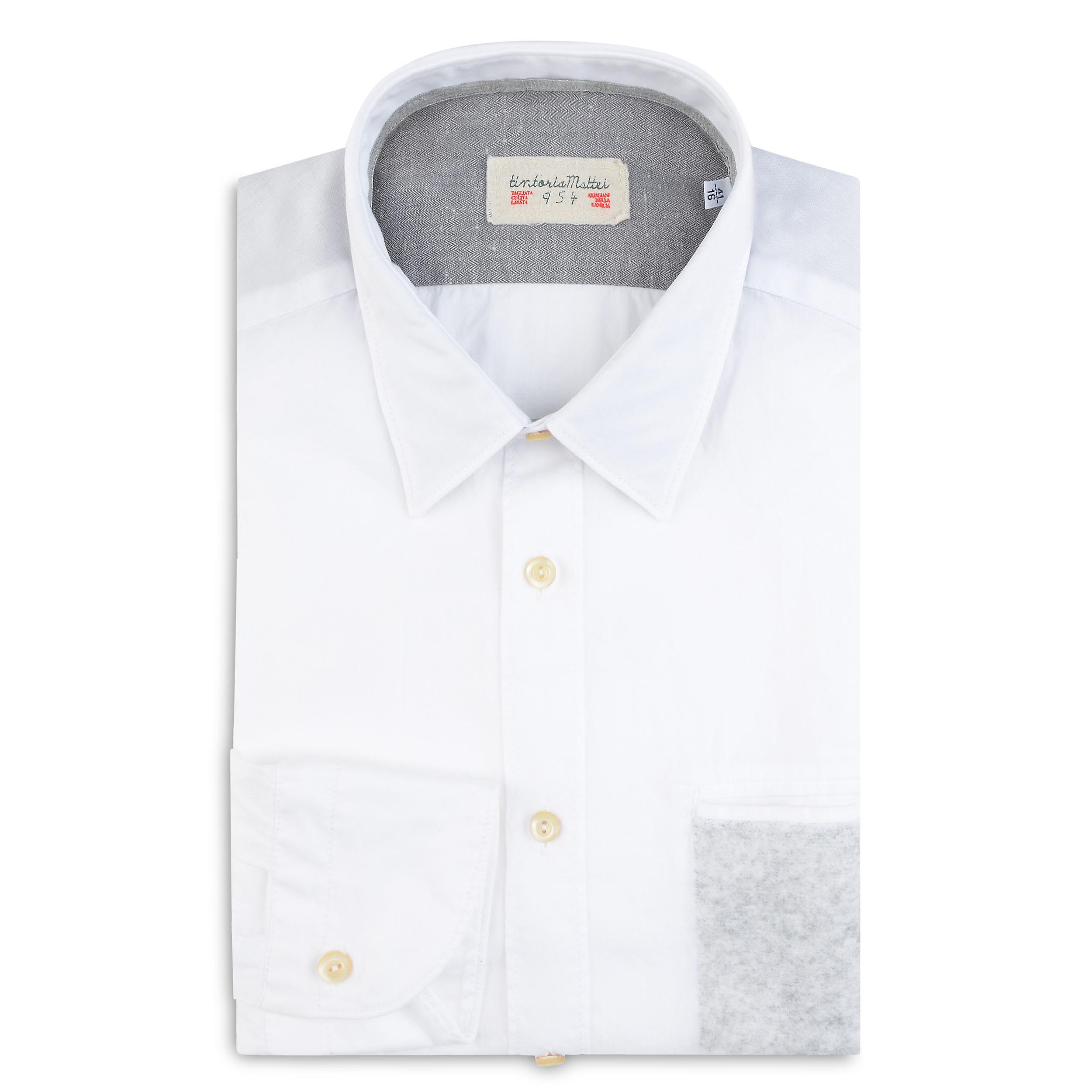 Fabio Giovanni Casalini Shirt - Constructed in Italian herringbone cotton - High Quality Italian Shirt