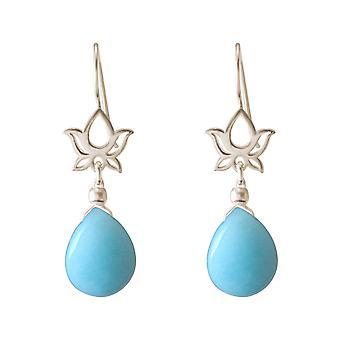 Boucles d'oreilles GEMSHINE Pour Femmes en Argent YOGA Mandala Lotus Flowers Turquoise