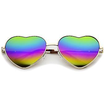 Women's Metal Frame Colored Mirror Rainbow Lens Heart  Sunglasses 61mm