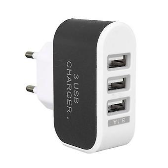 Materiál certifikovaná® 2-Pack Triple (3x) USB port iPhone/Idandroid Nástěnná nabíječka černá