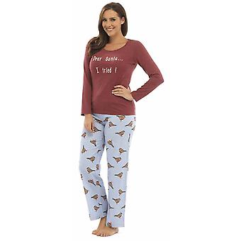 Naiset Foxbury Robin Xmas Print Winter Long Pyjama pyjama Sleepwear Red-Blue S/M - 8-10 - 36-38