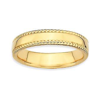 925 Sterling Zilver gepolijst patroon stapelbare uitdrukkingen 14k vergulde ring sieraden geschenken voor vrouwen - Ring Grootte: 5