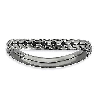 2.25mm 925 Sterling Silver Patterned Ruthenium plating Stackable Expressions Polished Black plated Wave Ring Jewelry Gif